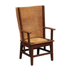 Scottish 1900s Oak Orkney Island Wingback Chair with Handwoven Straw Back