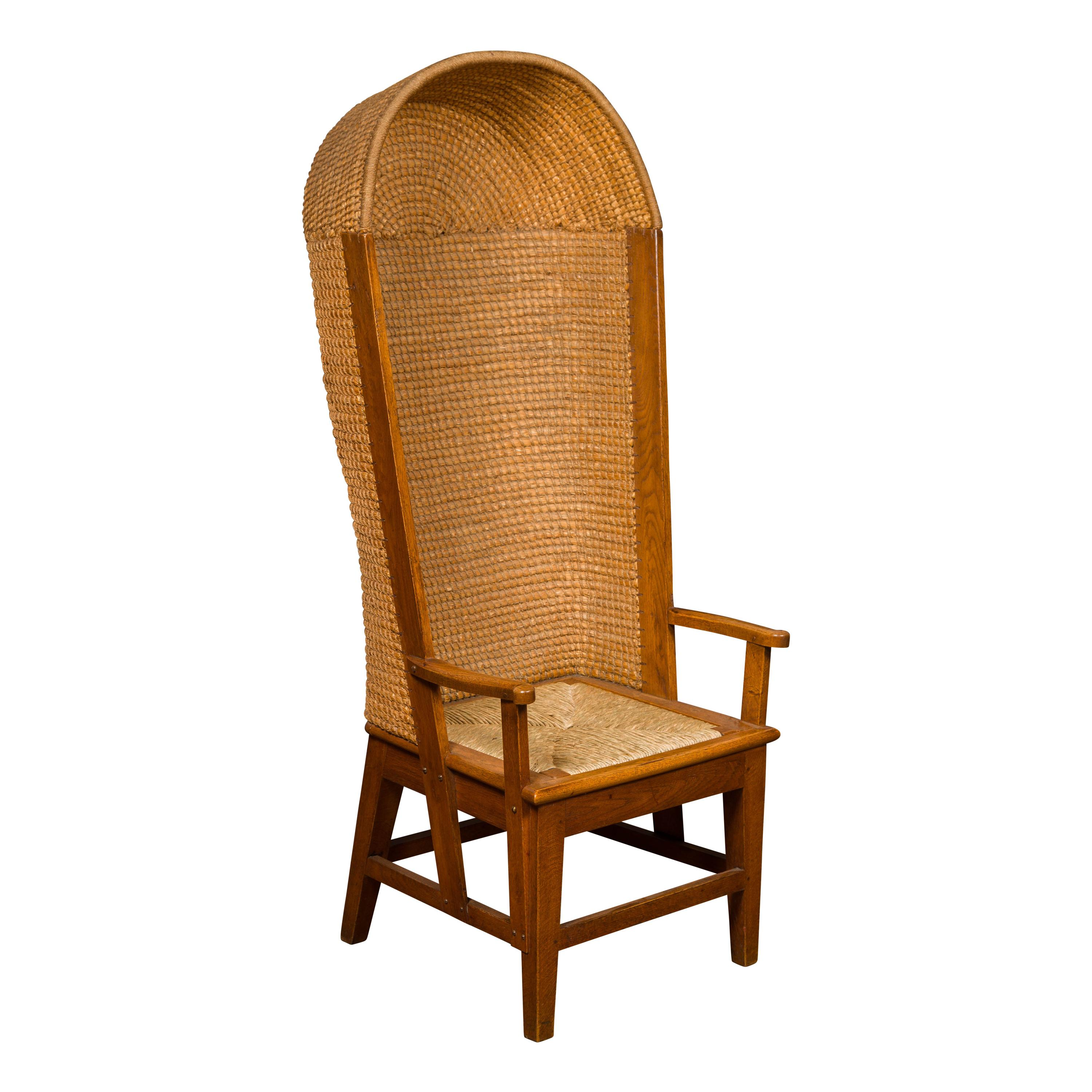 Scottish 1900s Orkney Island Canopy Chair with Hooded Handwoven Straw Back