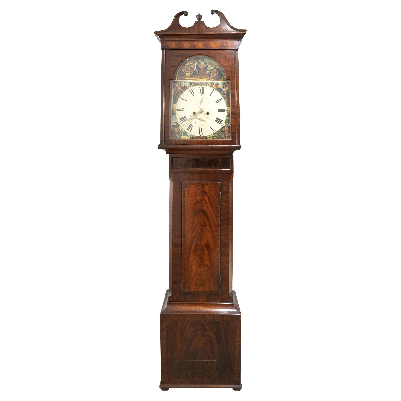 Scottish Allegorical Tall Mahogany Case Clock, c. 1830