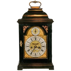 Scottish Antique George II Ebony Bracket Clock by John Brown of Edinburgh