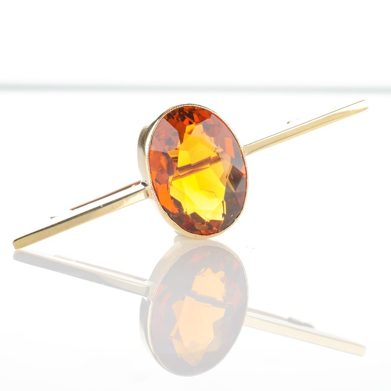 Scottish Cairngorm Citrine Brooch In Excellent Condition For Sale In Southbury, CT