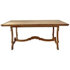 Scottish Dining Room Table in Limed Oak, circa 1900
