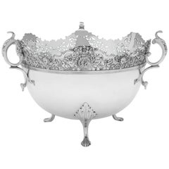 Scottish Edwardian Antique Sterling Silver Bowl by James Weir Glasgow, 1907
