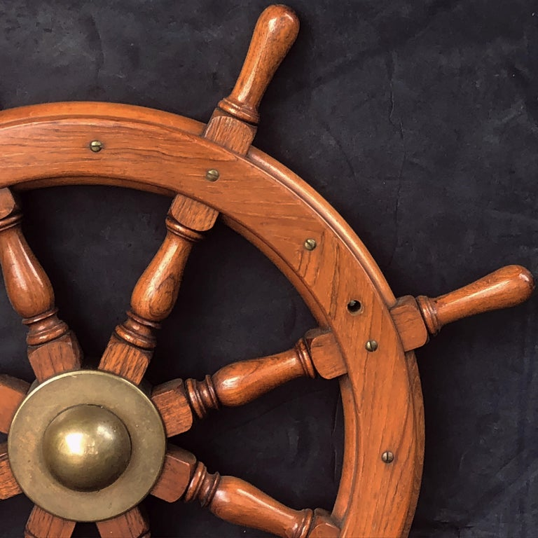 Scottish Eight-Spoke Ship's Wheel of Mahogany and Brass In Excellent Condition For Sale In Austin, TX