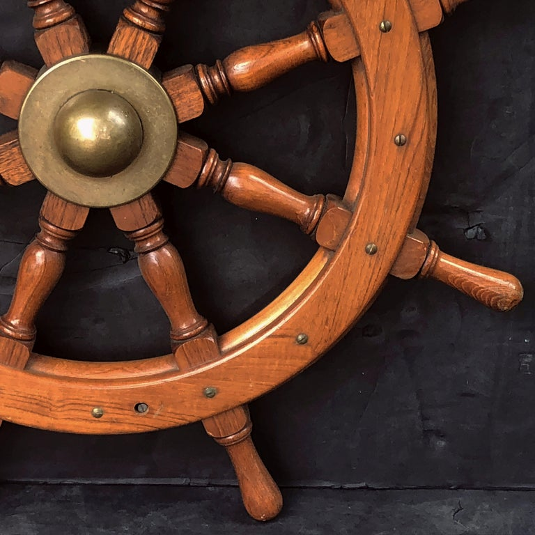 19th Century Scottish Eight-Spoke Ship's Wheel of Mahogany and Brass For Sale