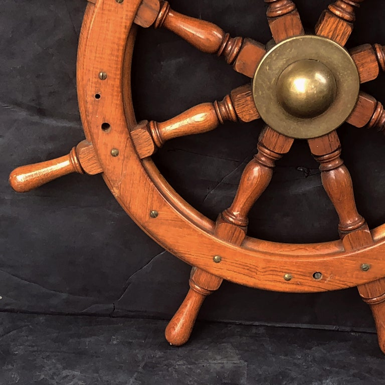 Metal Scottish Eight-Spoke Ship's Wheel of Mahogany and Brass For Sale
