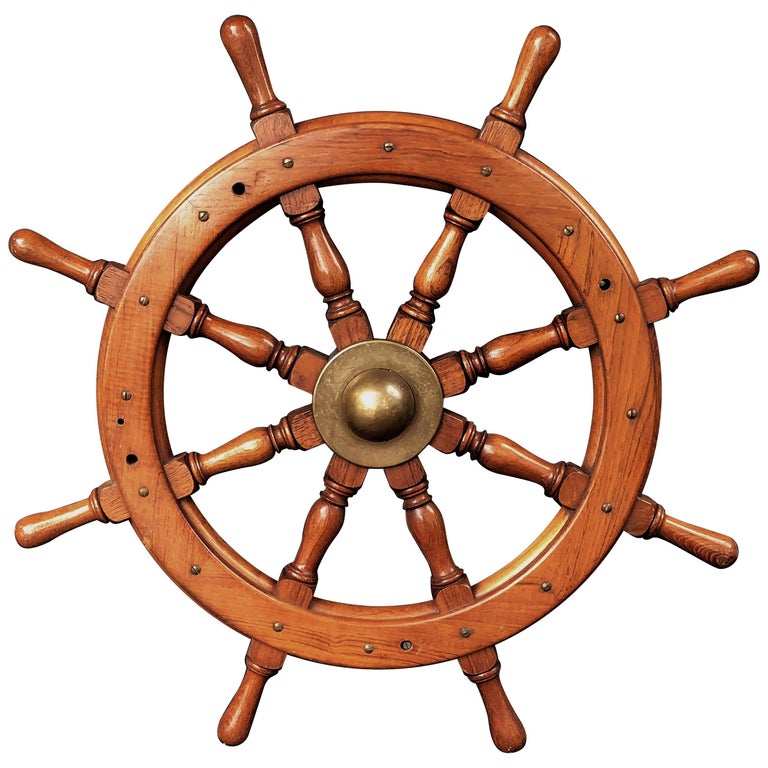 Scottish Eight-Spoke Ship's Wheel of Mahogany and Brass For Sale