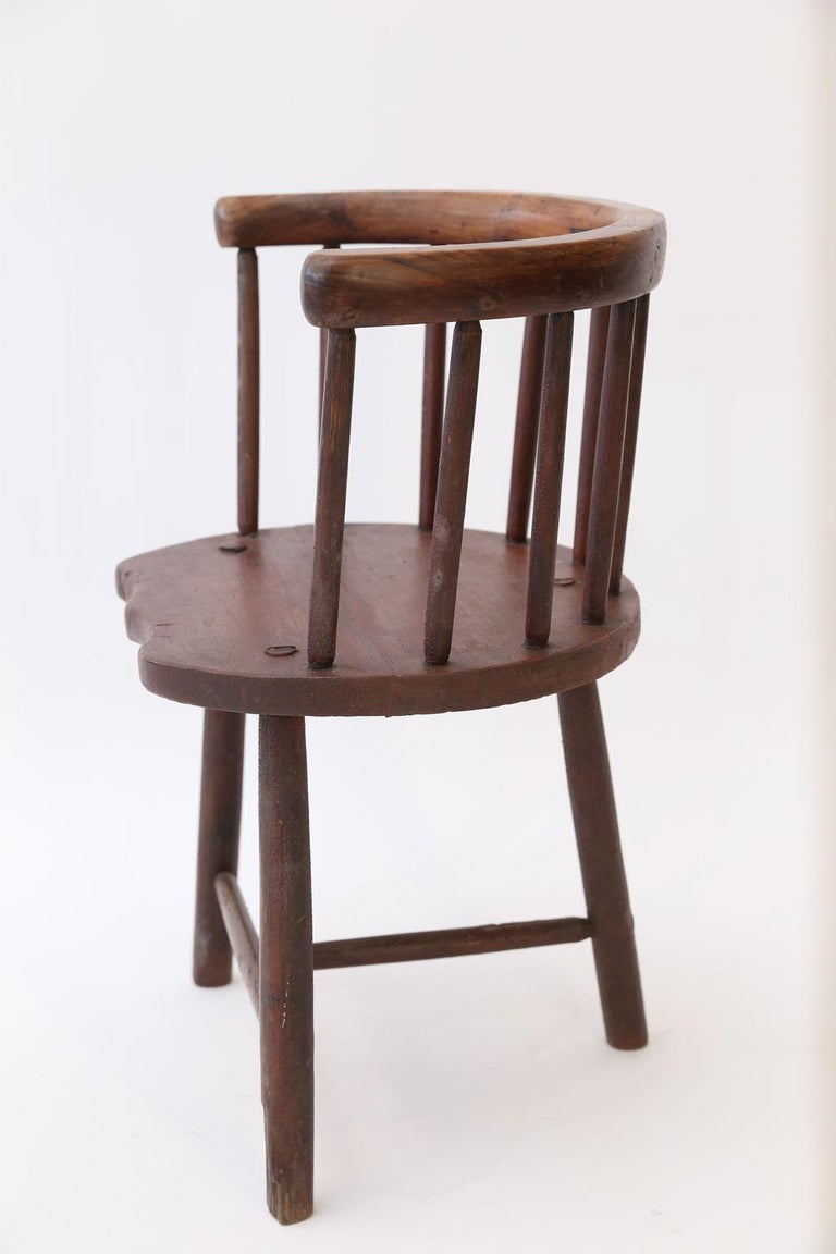 Hand-Carved Scottish Horseshoe Back Chair For Sale
