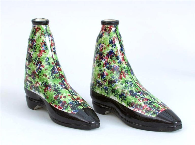 19th Century Scottish Pottery Pearlware Sponged Spirit Flasks Modeled in Form of Boots For Sale