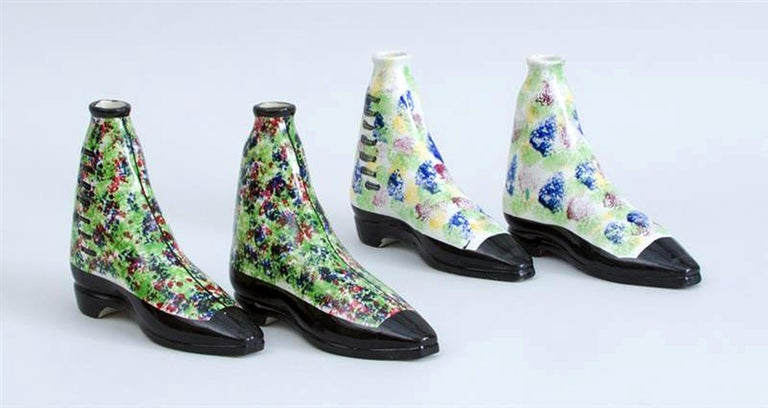 Scottish Pottery Pearlware Sponged Spirit Flasks Modeled in Form of Boots For Sale 3