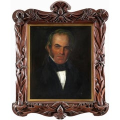 19th Century Victorian Portrait of a Gentleman in Ornate Carved Wood Frame