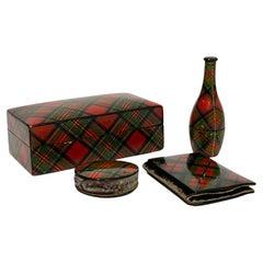Scottish Sewing Set of Tartan Ware, 19th Century