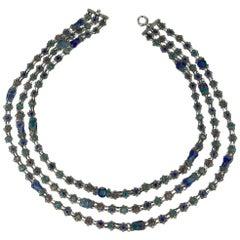 Scottish Silver and Enamel Glasgow School Three Strand Necklace