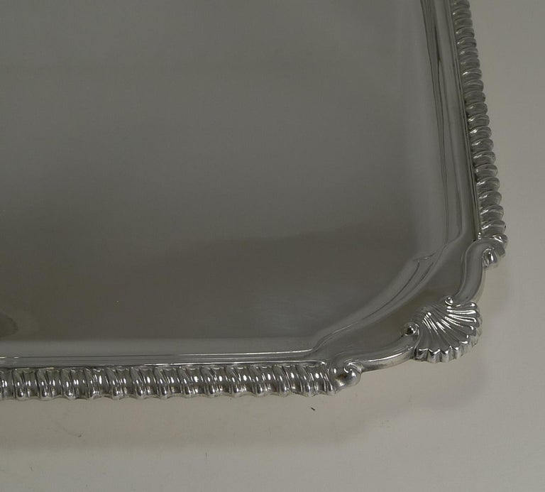 Early 20th Century Scottish Square Silver Plate Cocktail Tray / Serving Salver, circa 1910 For Sale