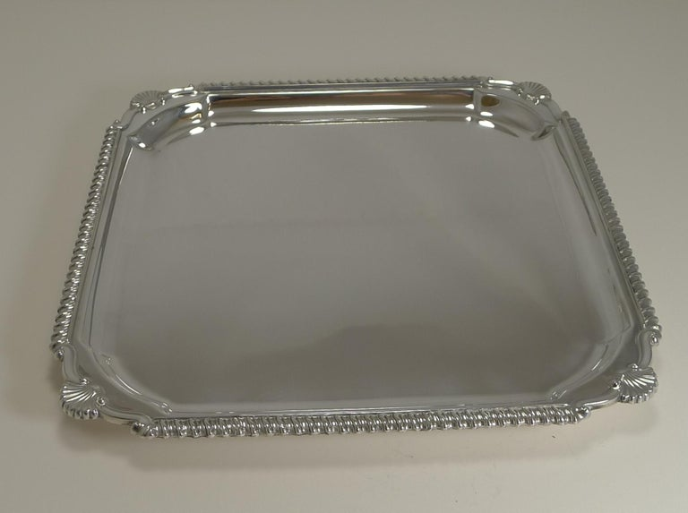 Scottish Square Silver Plate Cocktail Tray / Serving Salver, circa 1910 For Sale 1