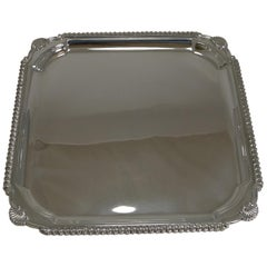 Scottish Square Silver Plate Cocktail Tray / Serving Salver, circa 1910