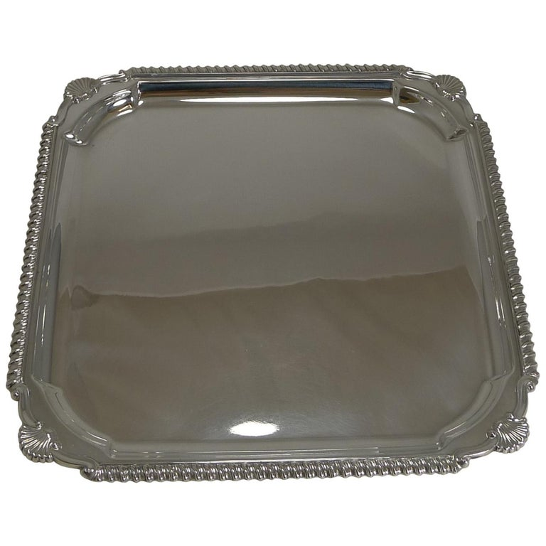 Scottish Square Silver Plate Cocktail Tray / Serving Salver, circa 1910 For Sale