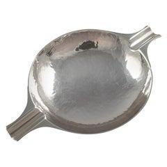 Scottish Sterling Silver Hammered Ash Tray, William Robb, Edinburgh, 1924