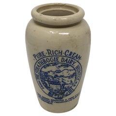 Scottish Stoneware Cream Advertising Pot from Strathbogie Dairy