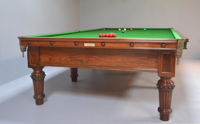 This beautiful full size Country House Billiard - Snooker table was made circa 1870 by J & T Scott of Edinburgh, it is a superb cut of figured walnut and exudes both quality and presence. 