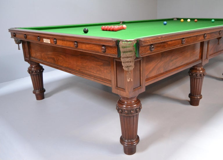 Late Victorian Scottish Victorian Billiard Snooker Pool Table Walnut, Made 1870 For Sale