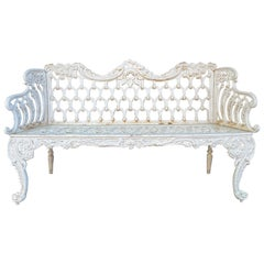 Scottish Victorian Painted Cast Iron Bench with Scroll Design, Circa 1846