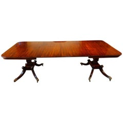Scottish William IV Mahogany Twin Pedestal Extending Dining Table, circa 1825