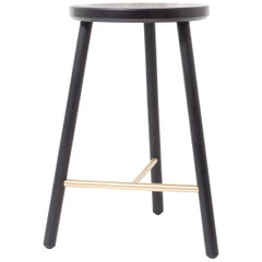 Scout Counter Stool in Blackened Oak and Satin Brushed Brass by Steven Bukowski