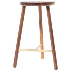 Scout Counter Stool in Walnut and Satin Brass by Steven Bukowski
