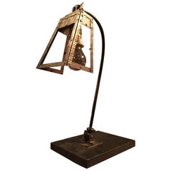 Scratch Built Table Lamp from the Early 20th Century in Iron
