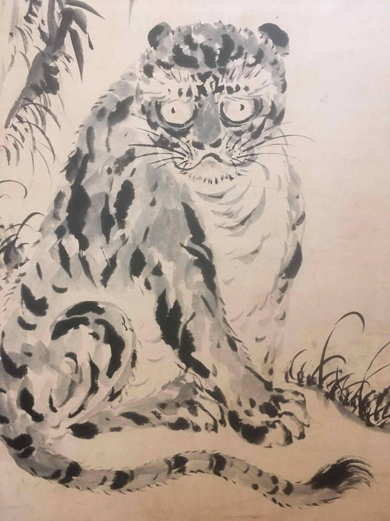 Screen Panel Tiger Painting Japan 19th Century For Sale