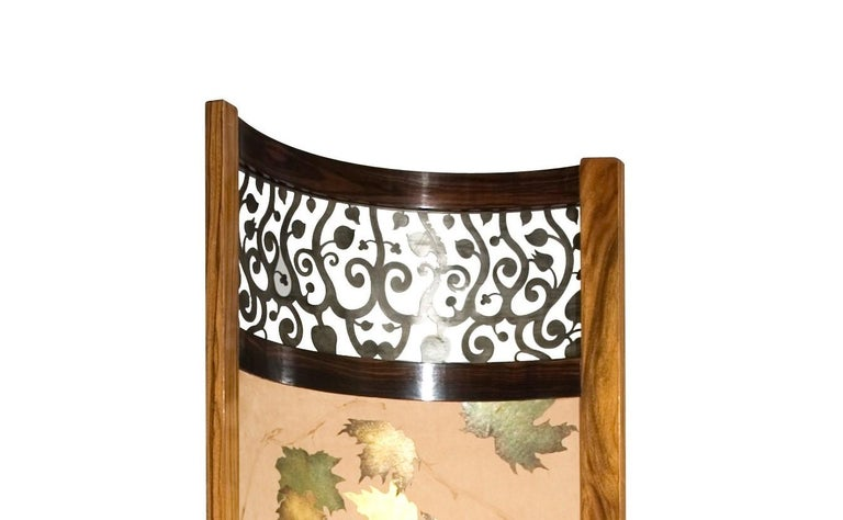 Art Deco Screen / Room Divider Mixed Media with Exotic Wood, Steel and Tapestry For Sale