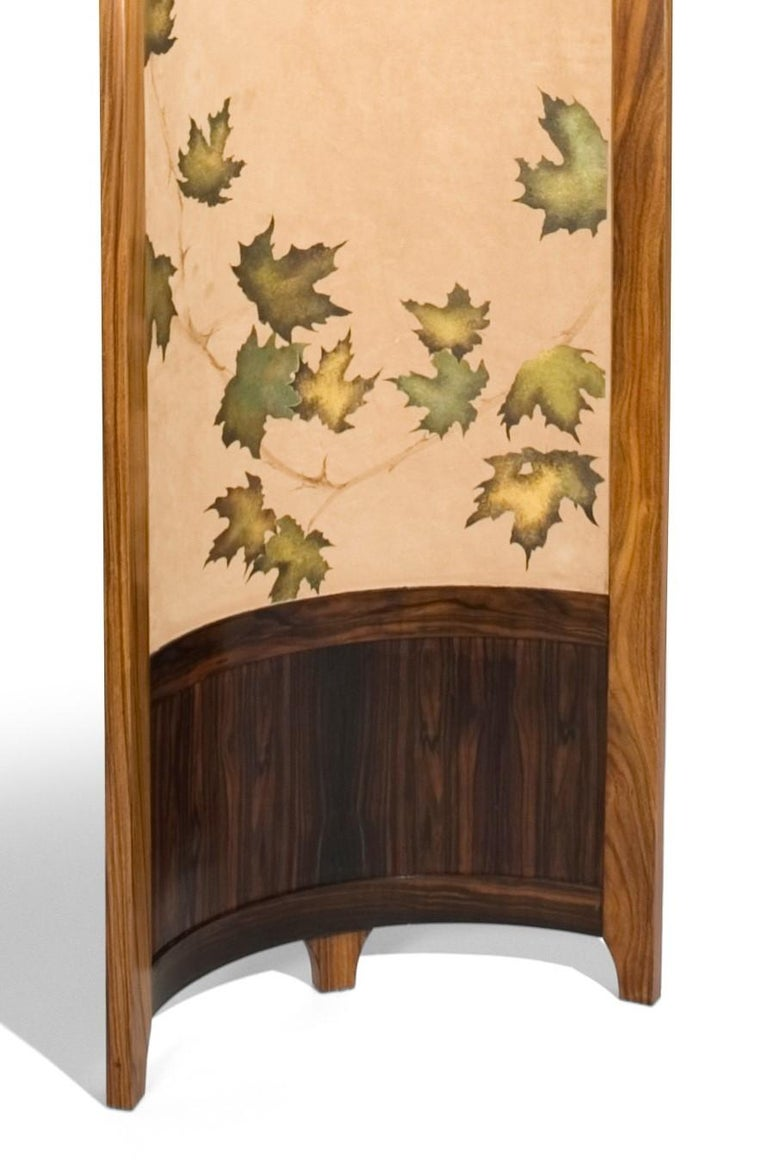American Screen / Room Divider Mixed Media with Exotic Wood, Steel and Tapestry For Sale