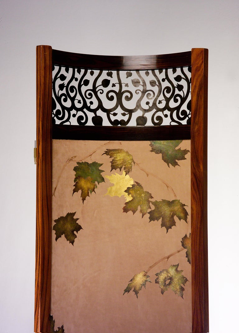 Screen / Room Divider Mixed Media with Exotic Wood, Steel and Tapestry In Excellent Condition For Sale In Wilton, CT
