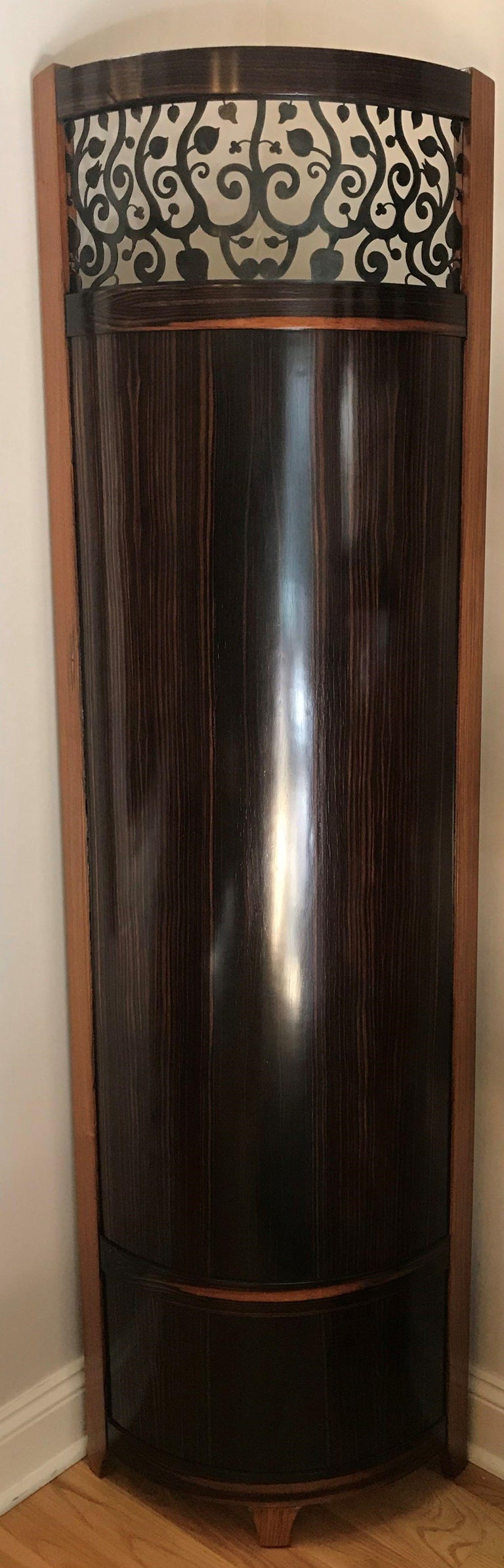 Contemporary Screen / Room Divider Mixed Media with Exotic Wood, Steel and Tapestry For Sale