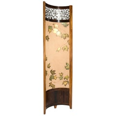 Screen / Room Divider Mixed Media with Exotic Wood, Steel and Tapestry