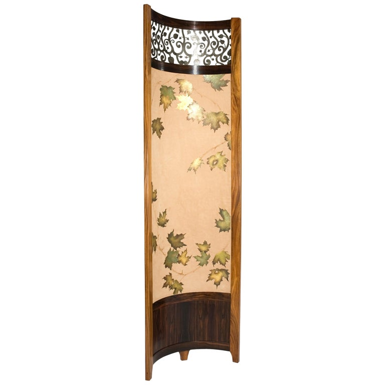 Screen / Room Divider Mixed Media with Exotic Wood, Steel and Tapestry For Sale