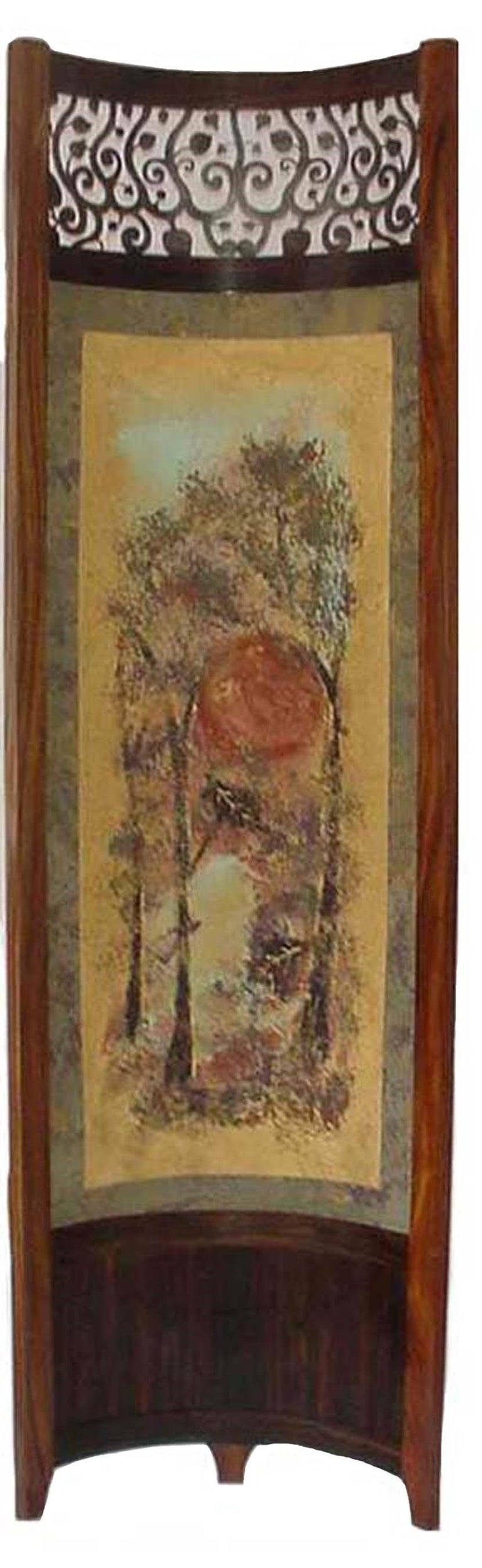 Contemporary Screen / Room Divider Mixed-Media with Exotic Wood in Wooded Trees Pattern For Sale