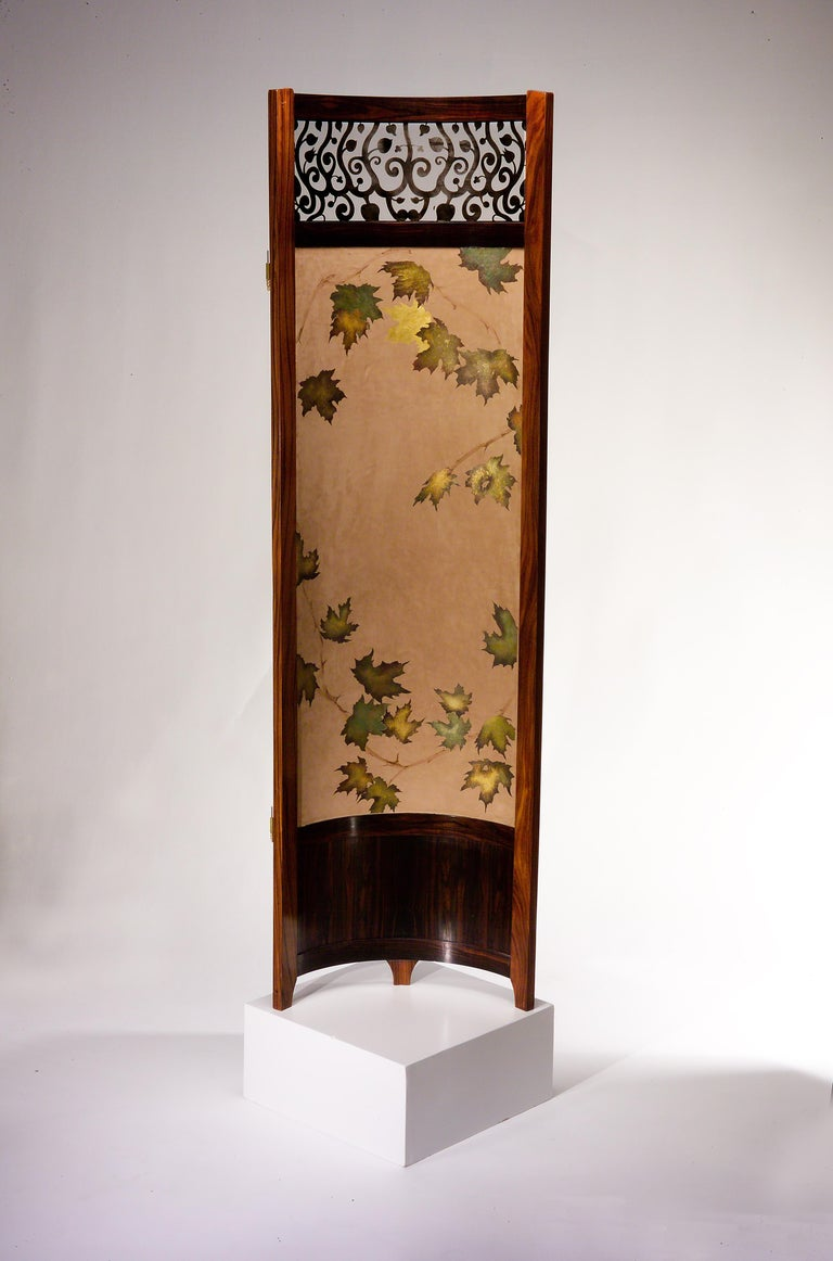 Screen / Room Divider Mixed-Media with Exotic Wood in Wooded Trees Pattern For Sale 1