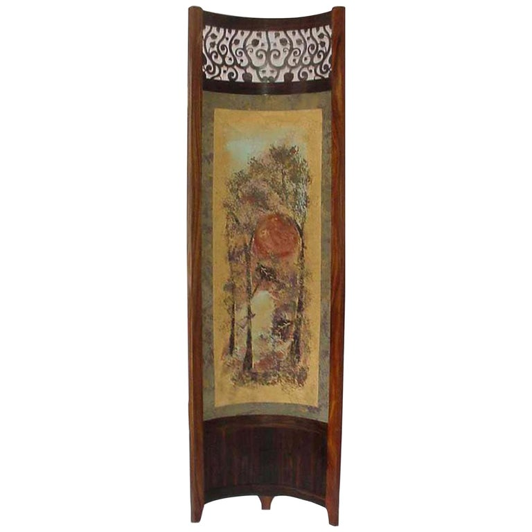 Screen / Room Divider Mixed-Media with Exotic Wood in Wooded Trees Pattern For Sale