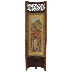 Screen / Room Divider Mixed-Media with Exotic Wood in Wooded Trees Pattern
