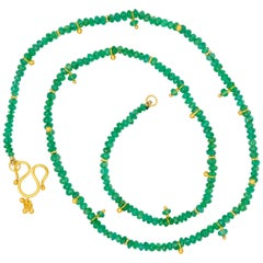 Scrives 21 Carat Emerald Beads 22 Karat Gold Necklace