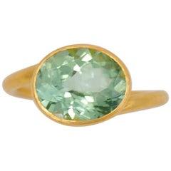 Scrives 3.24 Carat Green Celadon Tourmaline 22 Karat Gold Ring