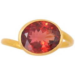 Scrives 3.44 Carat Deep Red Tourmaline 22 Karat Gold Ring