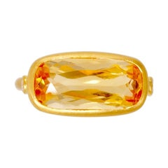 Scrives 3.65 Carat Citrine and Diamonds 22 Karat Gold Pinky Ring