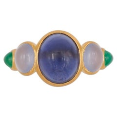 Scrives 4.17 Carat Iolite Blue Chalcedony Emerald Cabochons 22 Karat Gold Ring