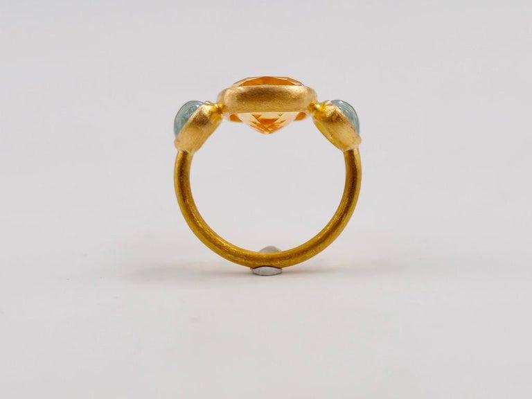 Scrives 4.53 Carat Citrine Aquamarine Shell 22 Karat Gold Ring For Sale 6