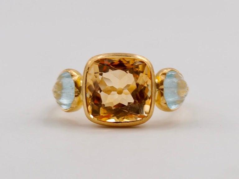 Scrives 4.53 Carat Citrine Aquamarine Shell 22 Karat Gold Ring For Sale 1
