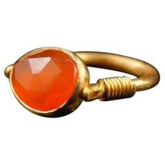Scrives 4.9 Carat Cornaline Swivel 22 Karat Gold Ring