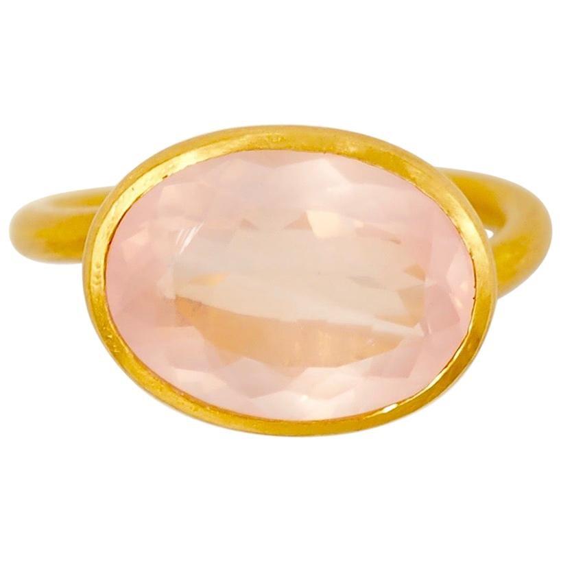 Scrives 5.2 Carat Pink Tourmaline 22 Karat Gold Ring